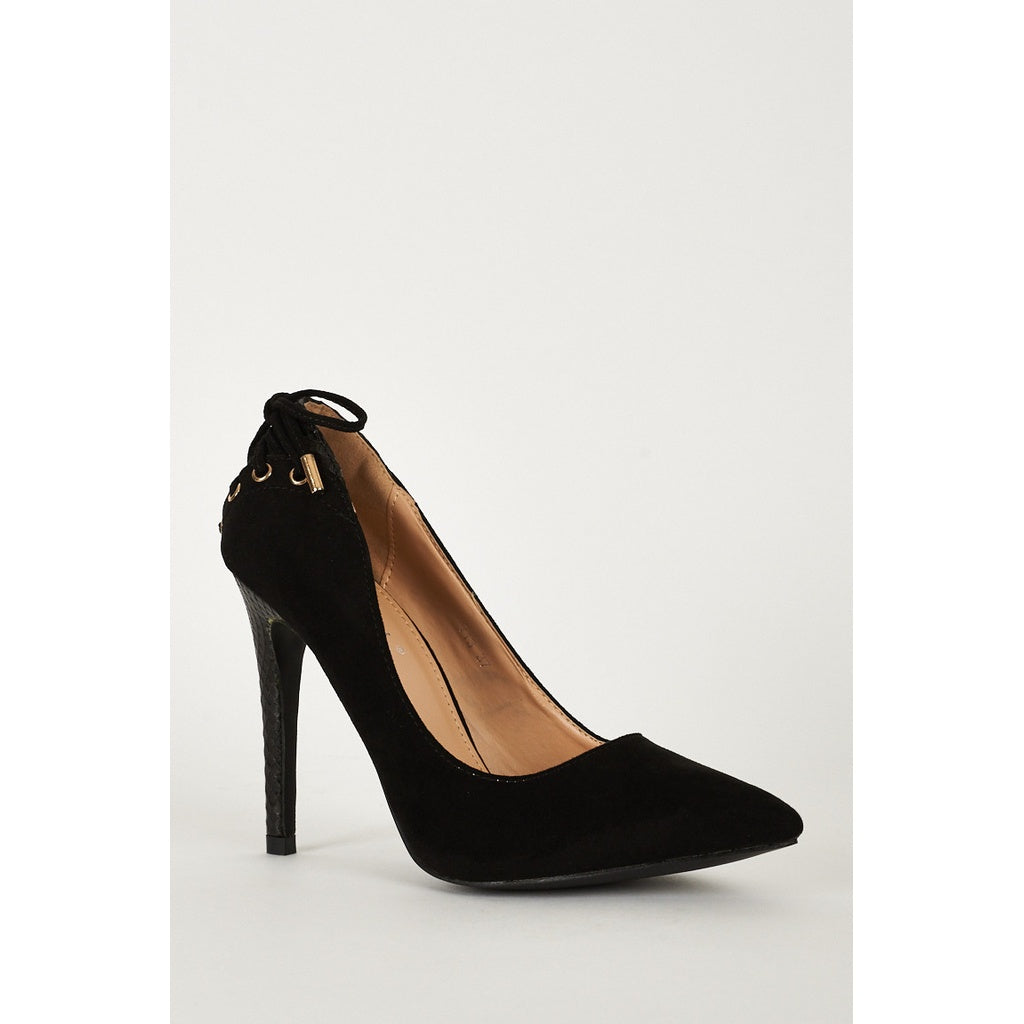 Black High Heel Lace Detailed Court Shoes - Stylishme