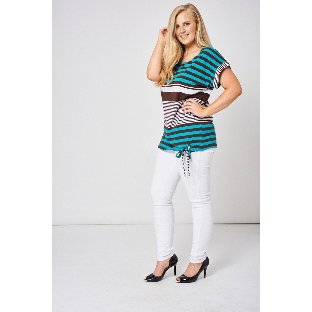 Blue Stripe Print Tie Front Top - Stylishme