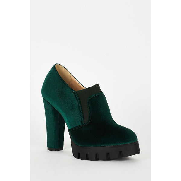 Green Velvet Block Heel Platform Shoes - Stylishme