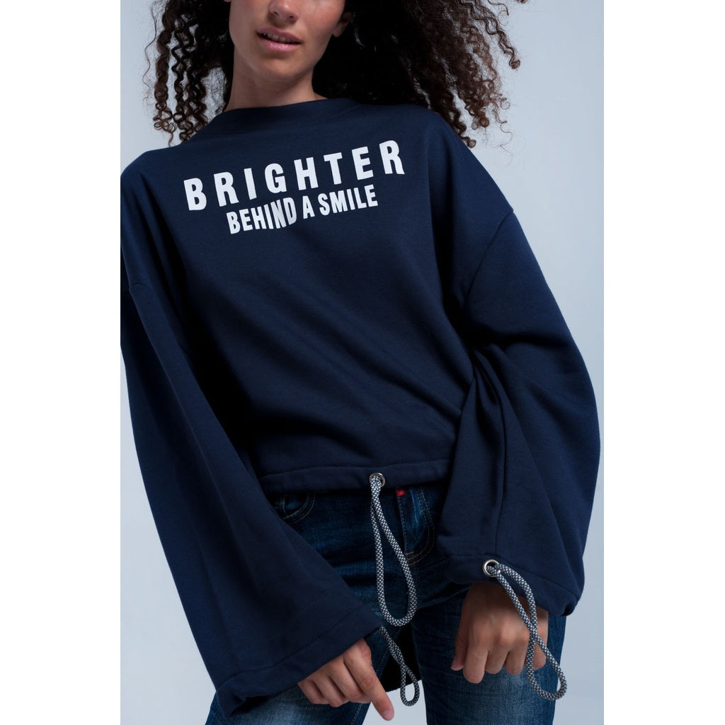 Navy asymmetric sweater - Stylishme