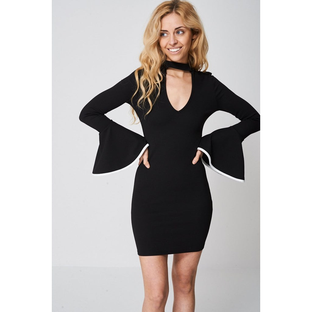 Black Bell Sleeve Dress Ex-branded - Stylishme