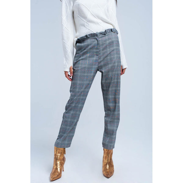 Red tartan pattern pants - Stylishme