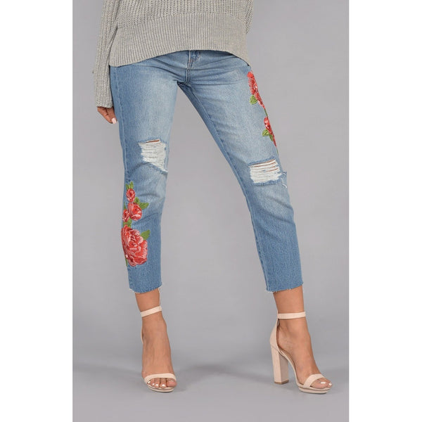 High Rise Rose Embroidered Girlfriend Jeans - Stylishme
