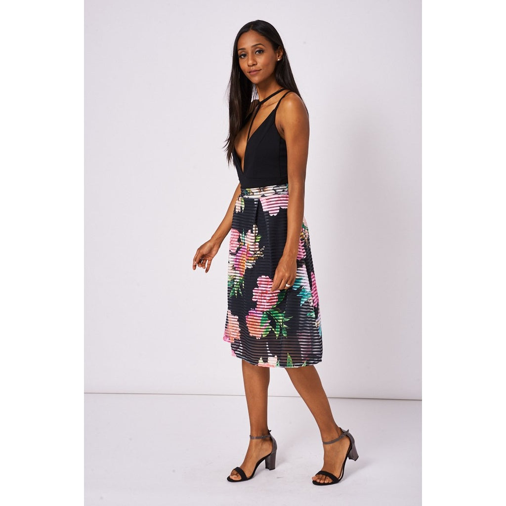 Black Floral Print Pleated Skirt - Stylishme