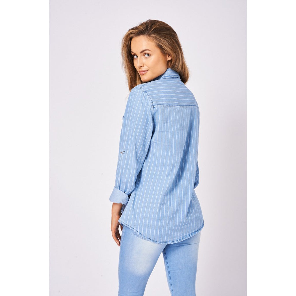 Blue Denim Stripe Shirt With Roll-up Sleeve - Stylishme