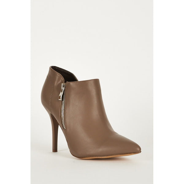 Stretch Panel Pointed Toe Faux Leather Boots - Stylishme