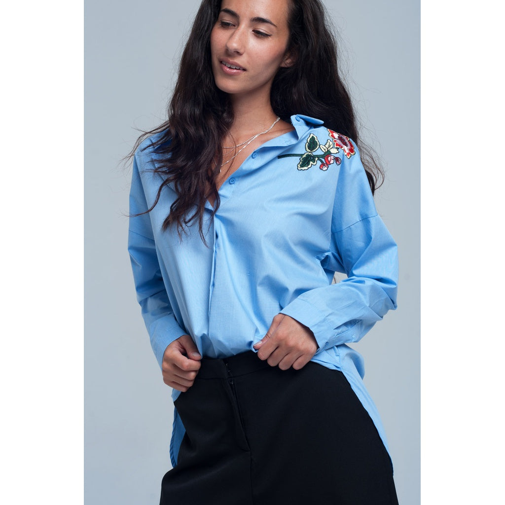 Blue shirt with embroidery detail - Stylishme