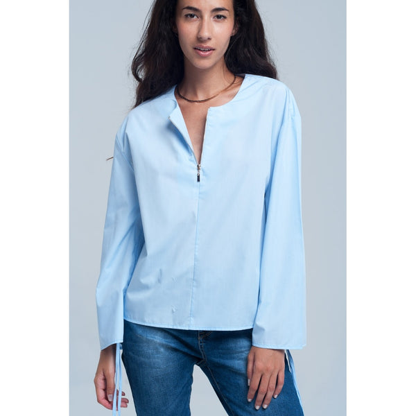 Blouse in blue color - Stylishme