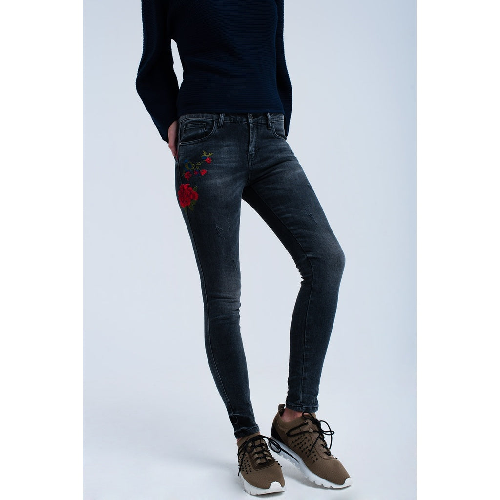 Black embroidered skinny jeans - Stylishme