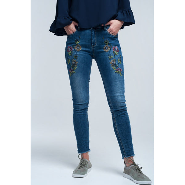 Blue skinny jean with embroideries - Stylishme