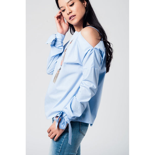 Cold shoulder blue shirt with laced cuffs - Stylishme