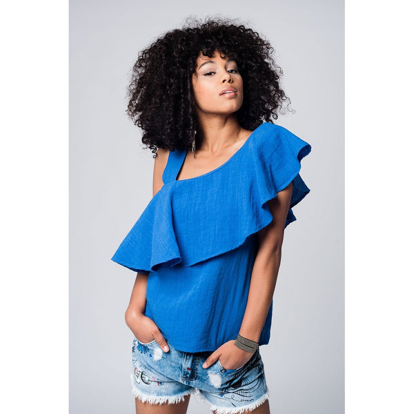 Asymmetric ruffled blue top