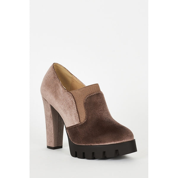 Mocha Velvet Block Heel Platform Shoes - Stylishme