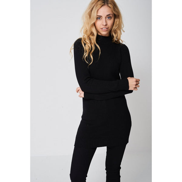 Black Ribbed Neck Longline Jumper Dress Ex-branded - Stylishme
