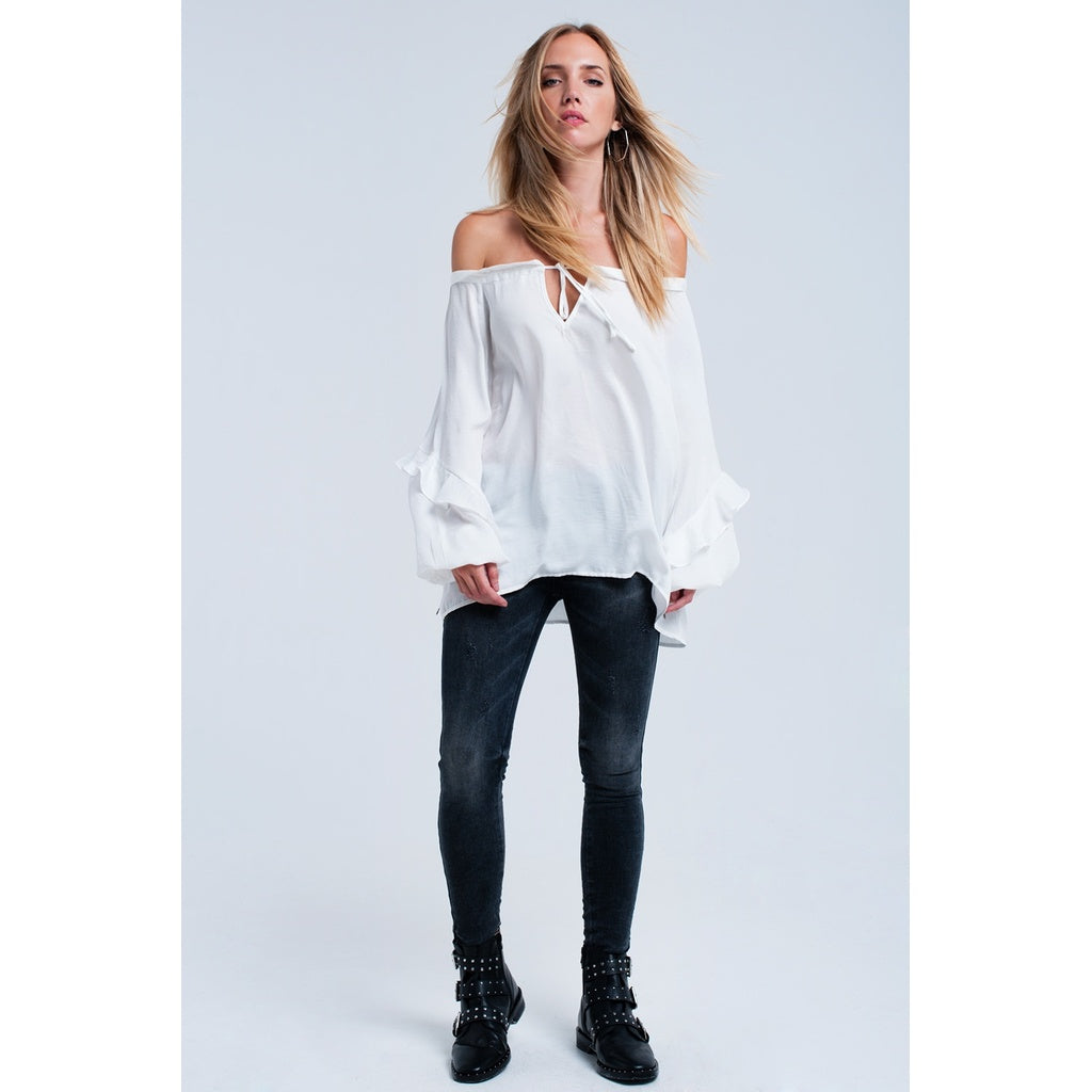 White flowing off shoulder blouse - Stylishme