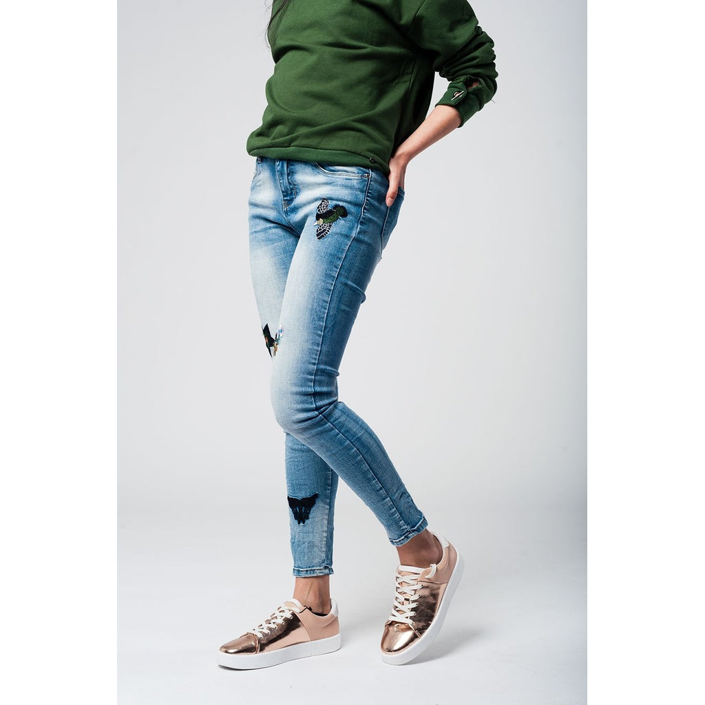 Embroidered skinny jeans - Stylishme