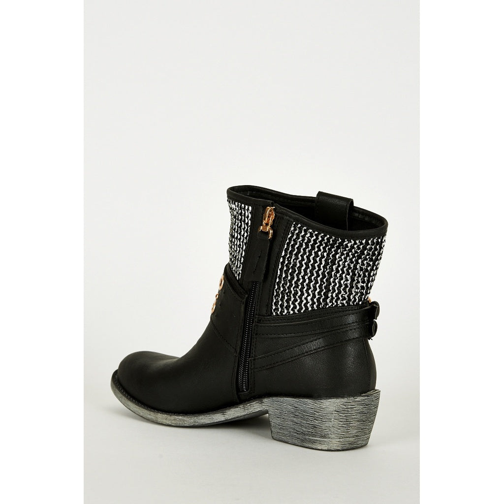 Black Western Style Boots with Silver Texture Detail - Stylishme