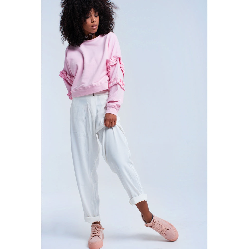 Pink sweatshirt with ruffle detail - Stylishme