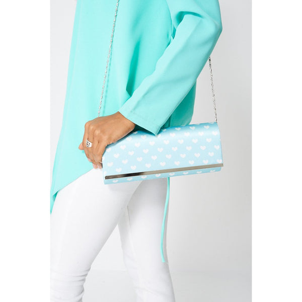 Baby Blue Metal Front Heart Print Clutch Bag