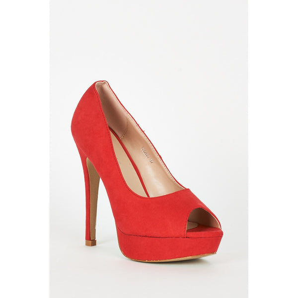 Red Faux Suede High Heel Platform Shoes - Stylishme
