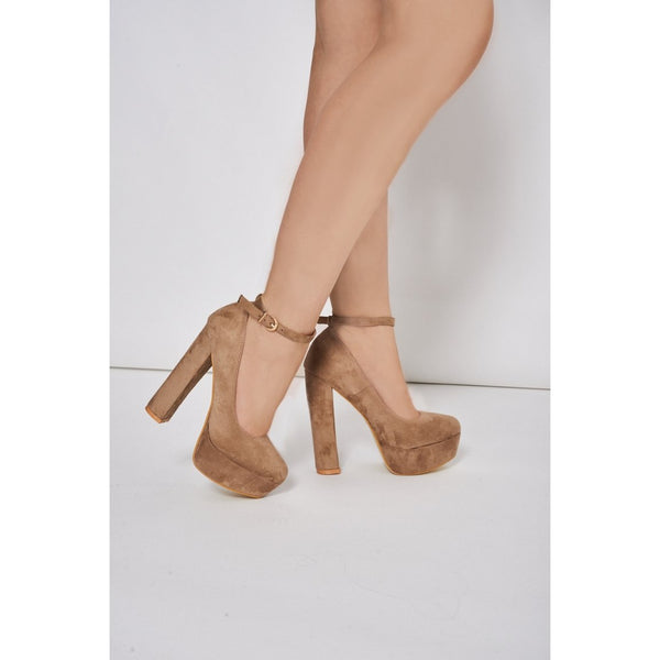 Beige Faux Suede Block Heel Platform Shoes - Stylishme