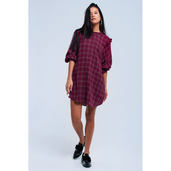 Bordeaux checked dress - Stylishme