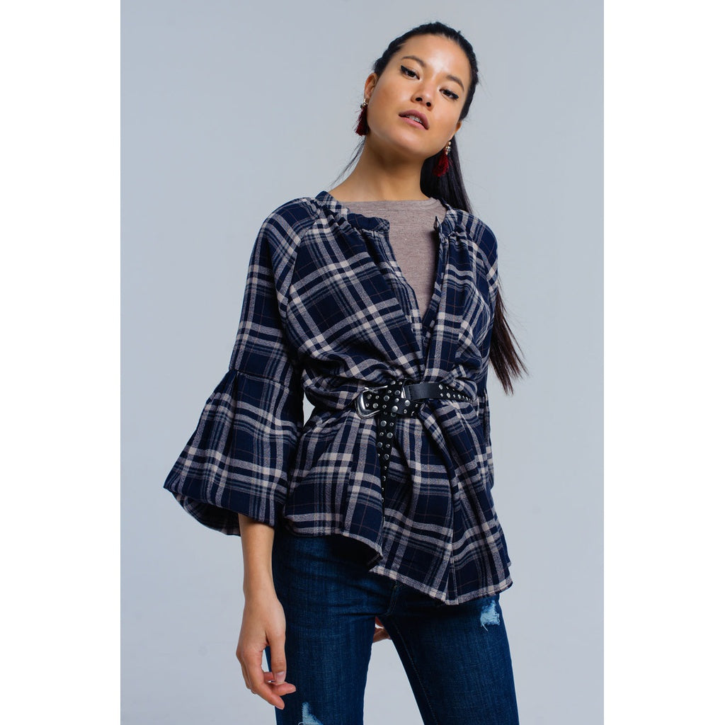 Navy checked shirt - Stylishme