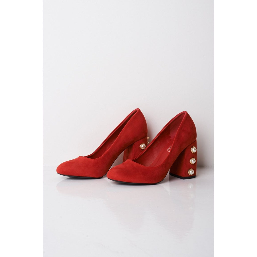 Pearls And Studs Red Faux Suede Block Heeled Shoes - Stylishme