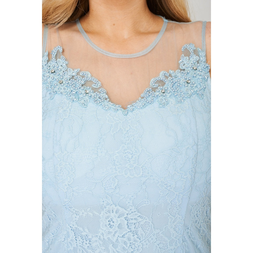 Powder Blue Maxi Prom Dress with Mesh Beaded Lace Overlay - Stylishme
