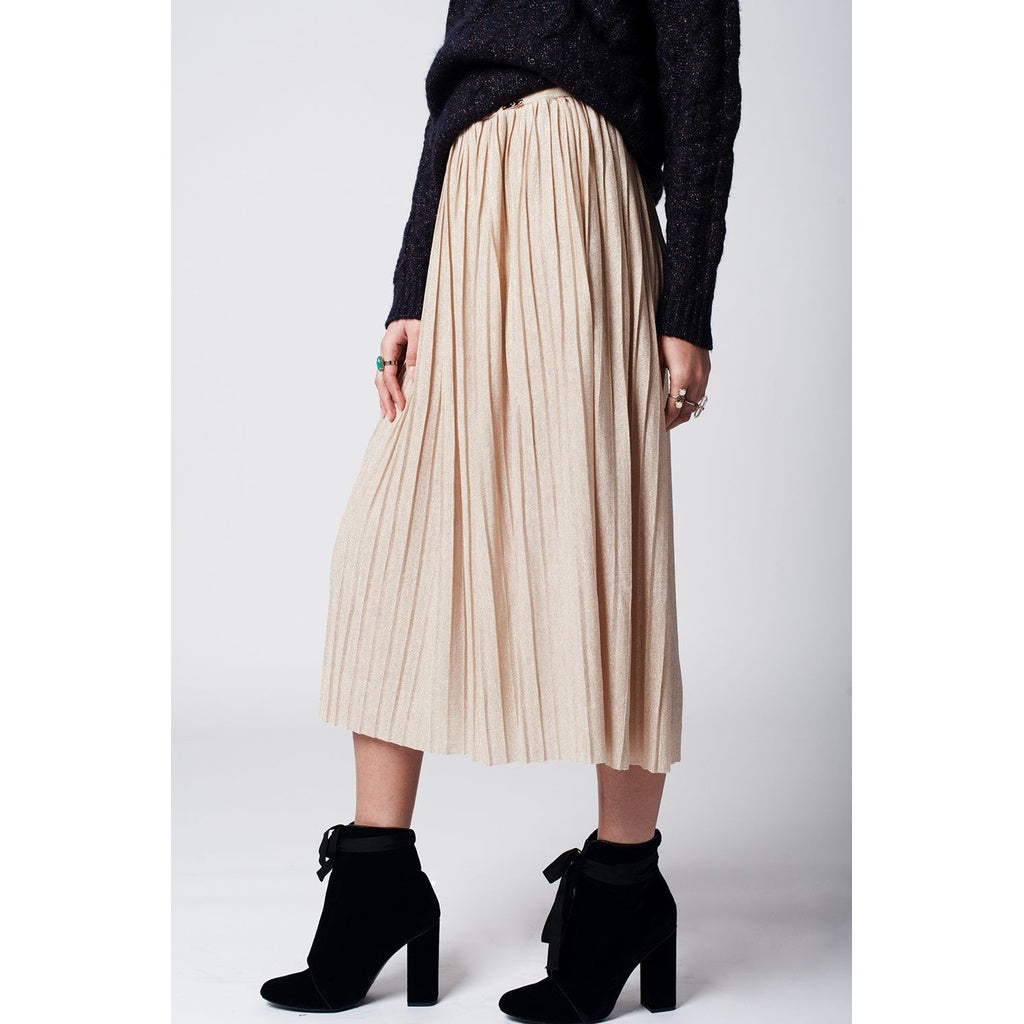 Beige pleated skirt with lurex - Stylishme
