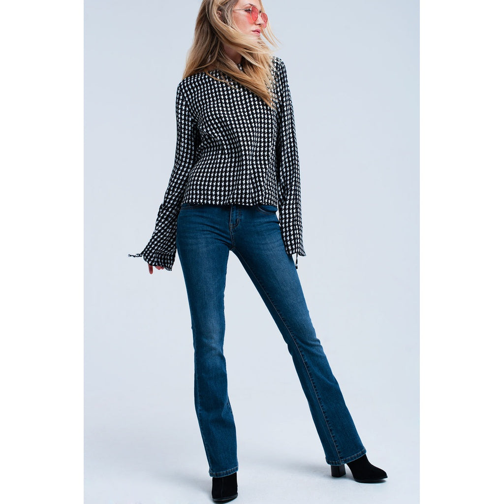 Checkered printed blouse in black - Stylishme