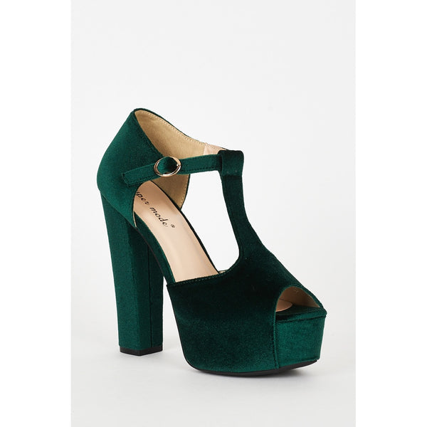 Green Velvet Block Heel Platform T-bar Sandals - Stylishme