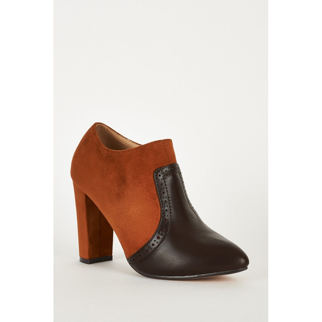 Brown Faux Suede And Faux Leather Block Heel Brown Chelsea Boots - Stylishme