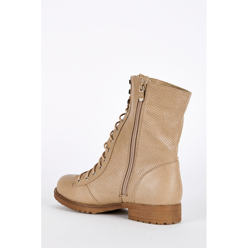 Taupe Lace Up Mid Calf Combat Boots - Stylishme