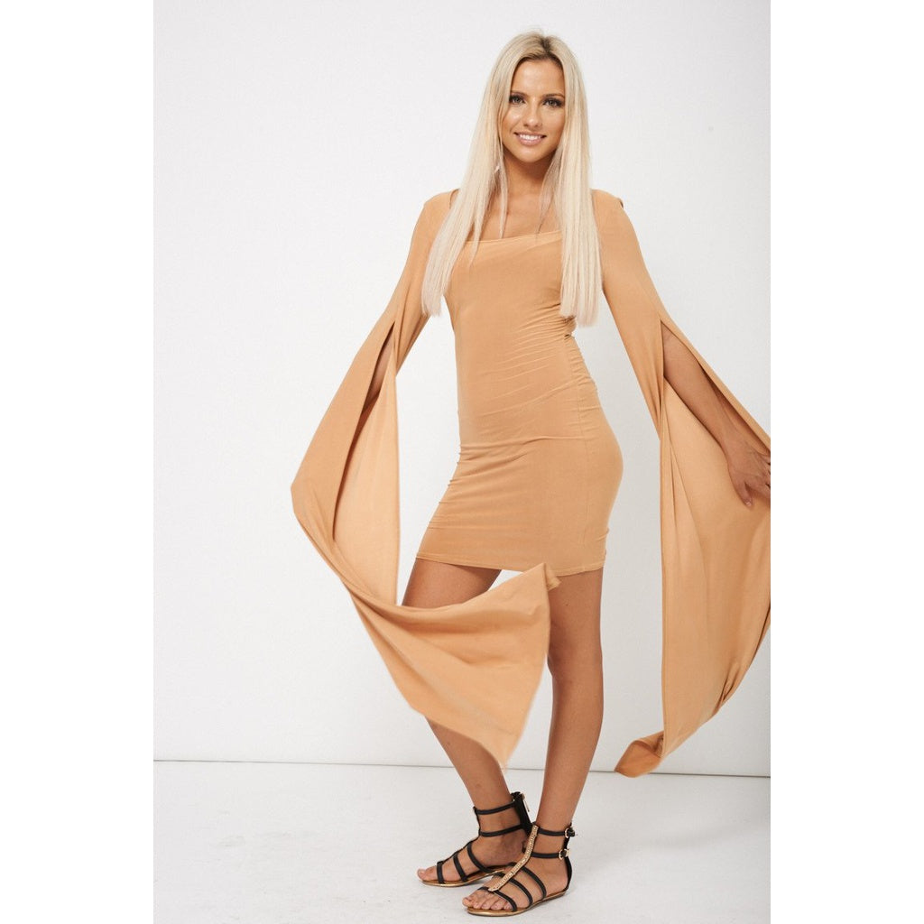 Caramel Brown Dress With Draped Sleeves - Stylishme