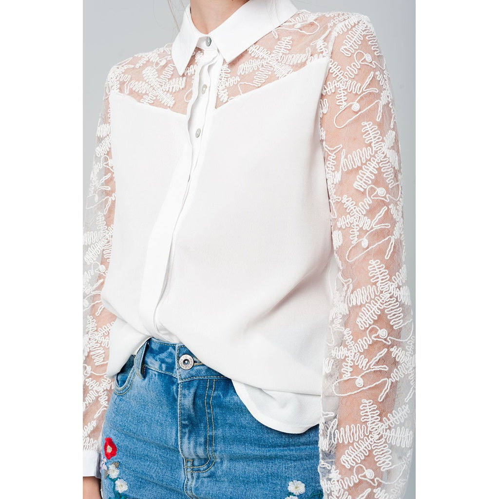 White shirt with lace details - Stylishme
