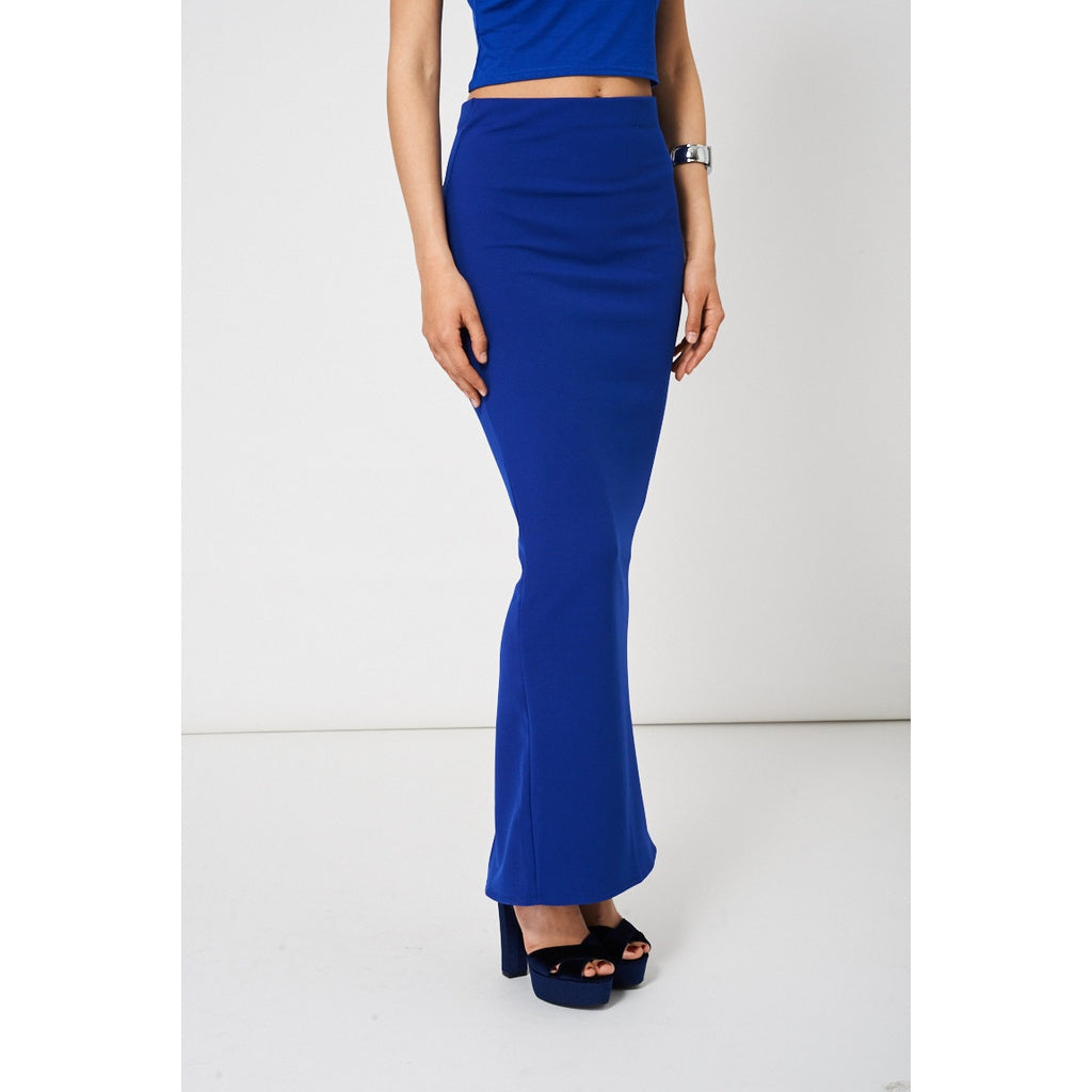 Blue Maxi Pencil Scuba Skirt - Stylishme