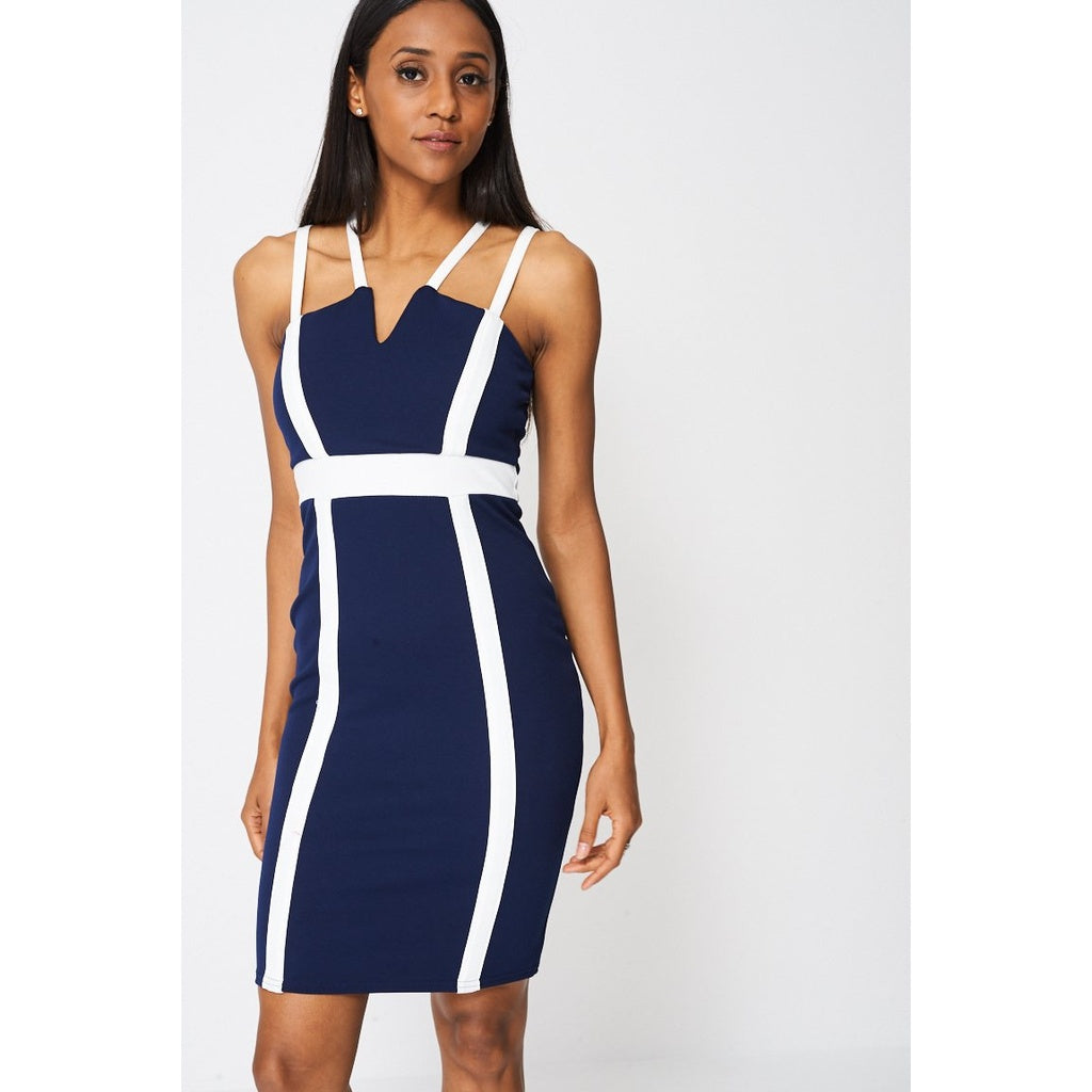 Navy Blue Contrast Panel Bodycon Dress Ex-branded - Stylishme