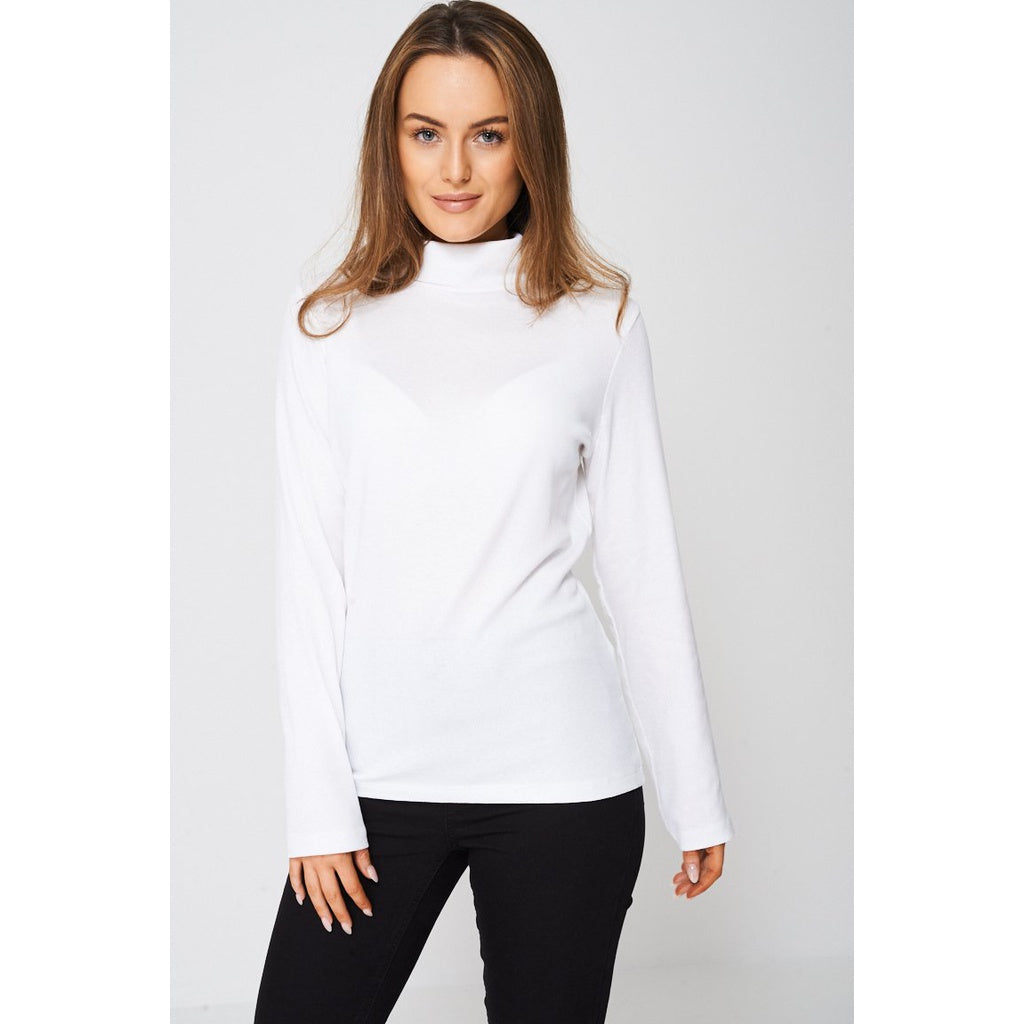 White Polo Neck Long Sleeve Top - Stylishme