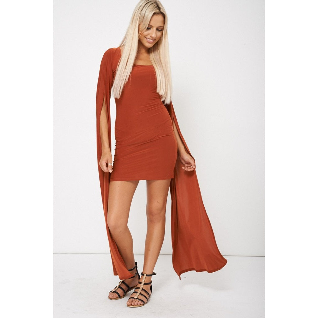Rust Brown Dress With Draped Sleeves - Stylishme