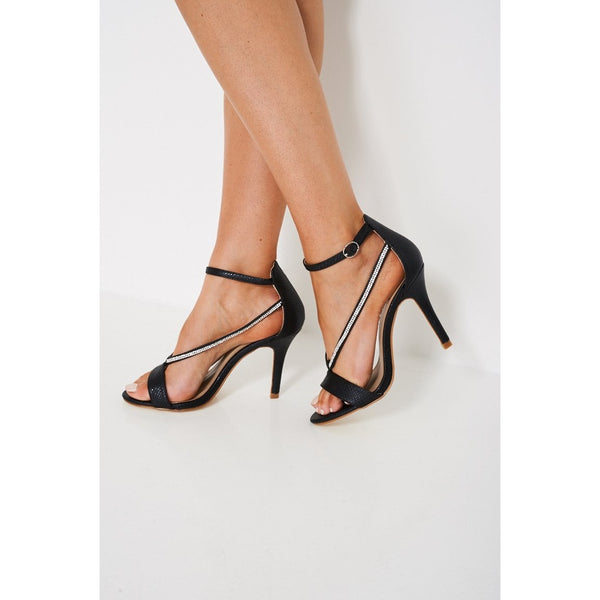 Black Snakeskin Strappy Heeled Sandals - Stylishme
