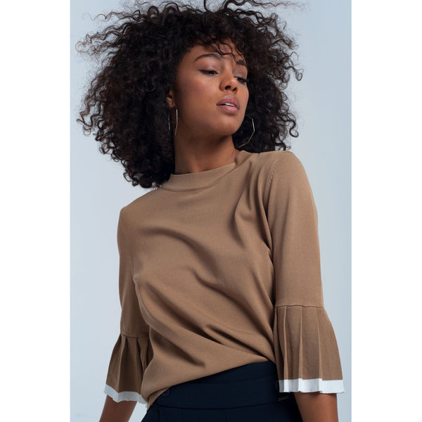 Beige top with ruffle sleeves - Stylishme