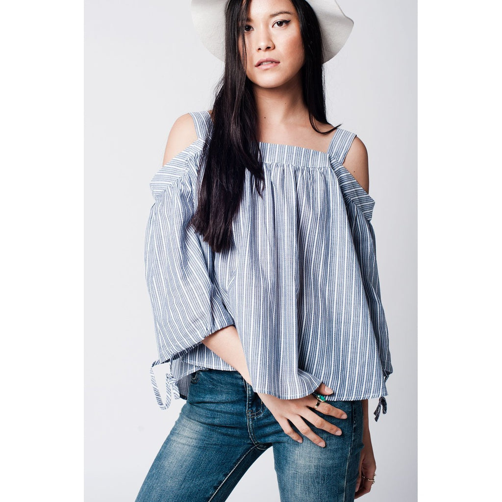 Grey Cold Shoulder Shirt In Stripe - Stylishme