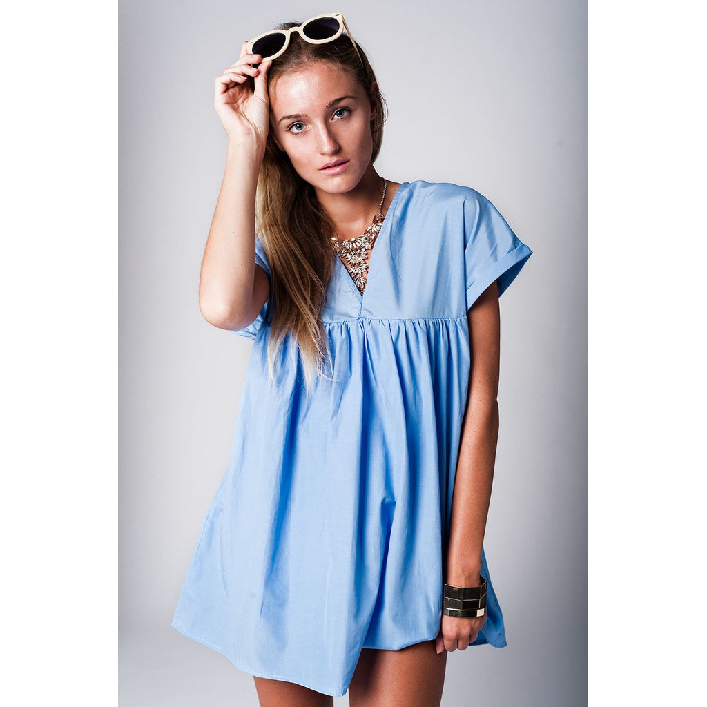 Blue Babydoll Dress with V neck and cut out back - Stylishme