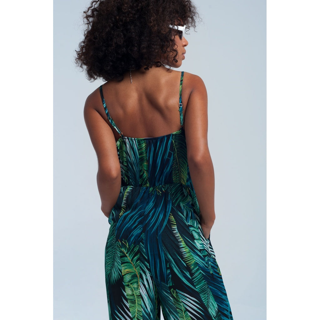 Green jumpsuit printed jungle - Stylishme