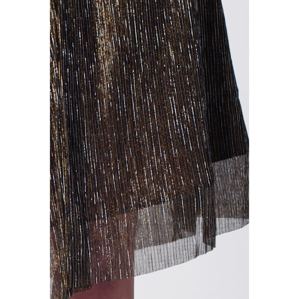 Gold metallic pleated midi skirt - Stylishme