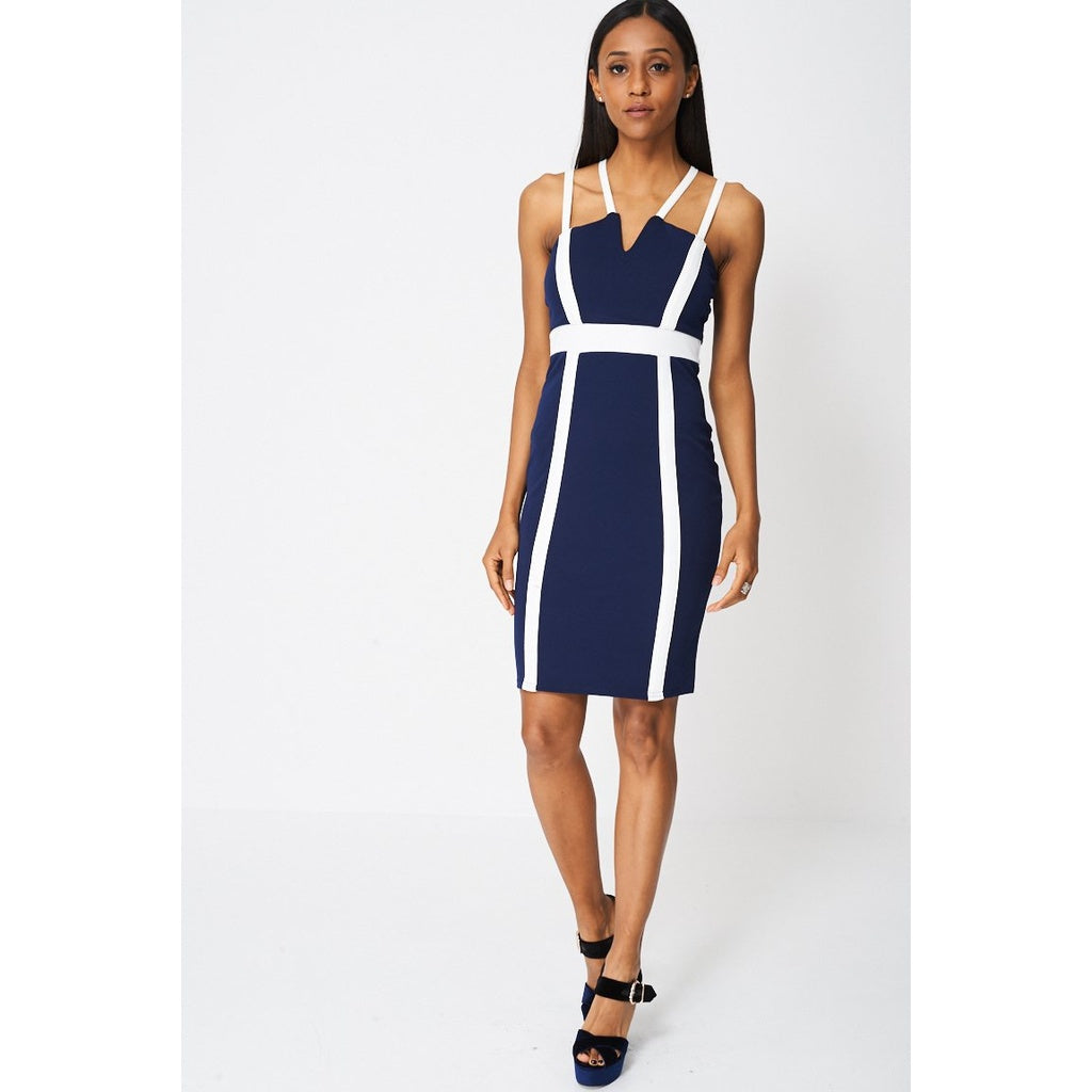 Navy Blue Contrast Panel Bodycon Dress Ex-branded