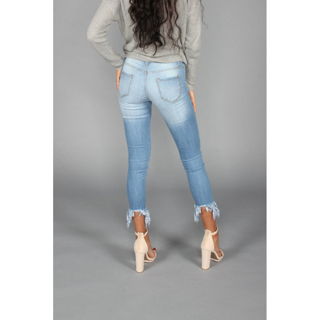 Cropped Frayed Denim Jeans - Stylishme