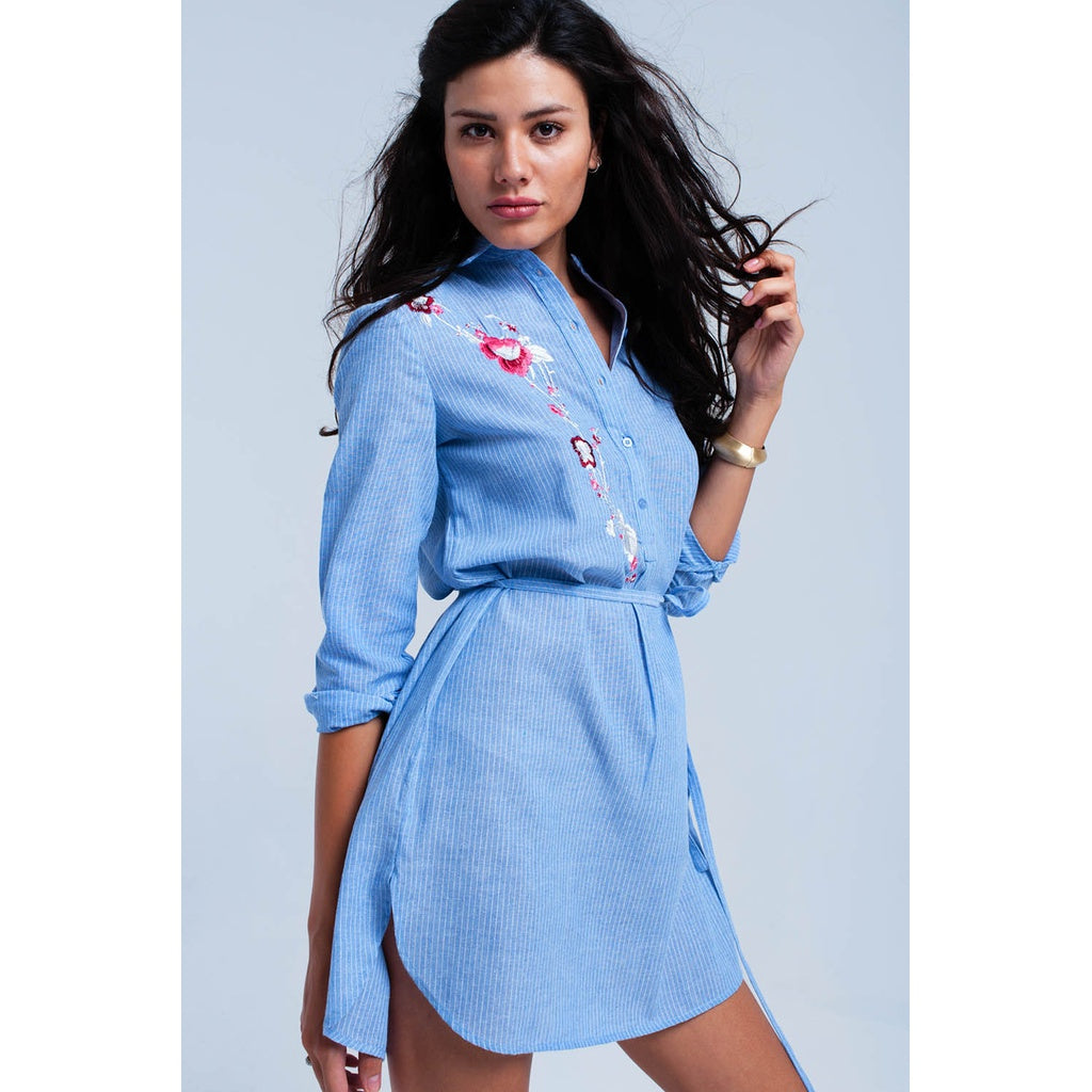 Blue striped shirt dress - Stylishme