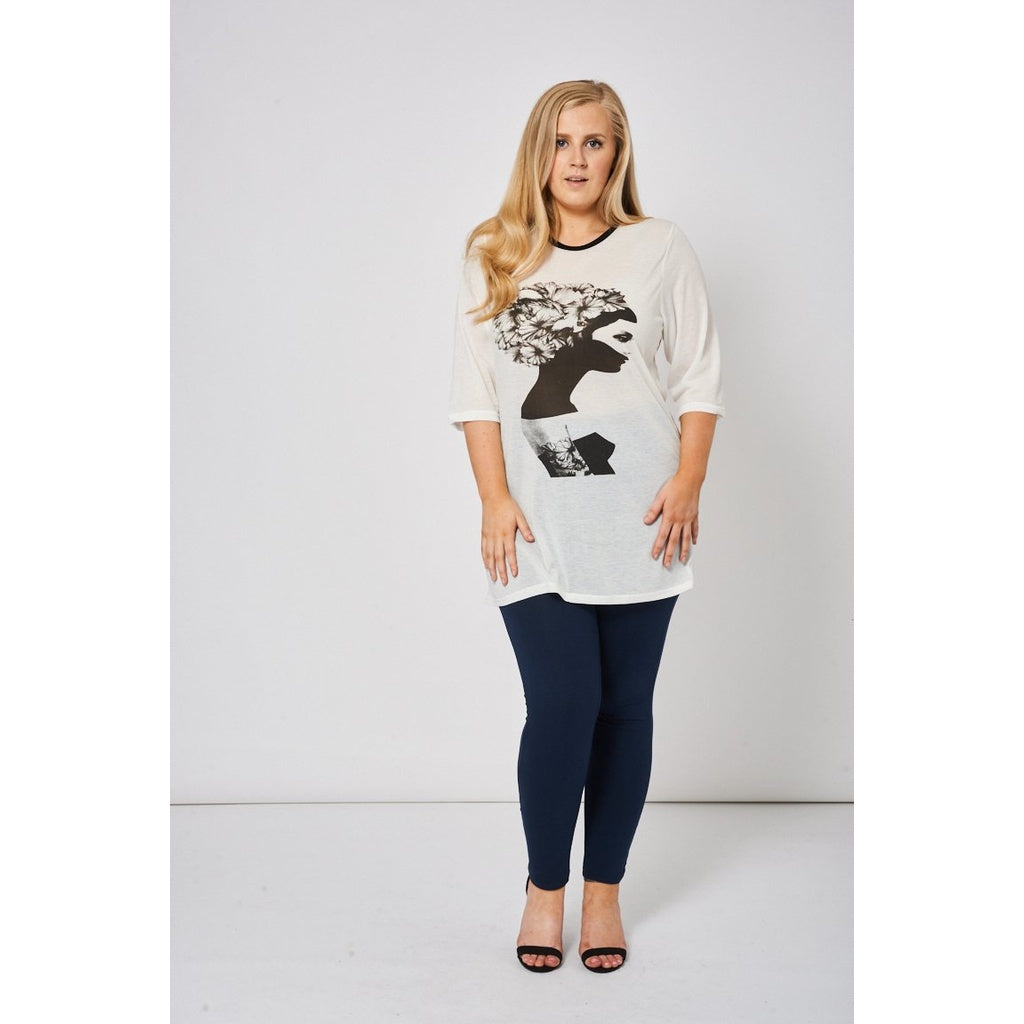 Ivory Top With Front Print - Stylishme